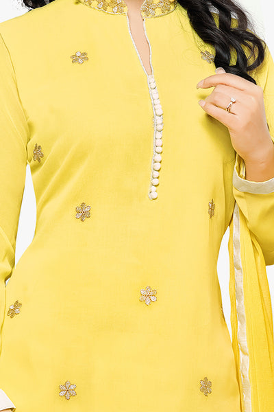 Designer Straight Cut:atisundar graceful Yellow Designer Embroidered Party Wear Straight Cut In Faux Georgette Featuring Heena Khan-Akashra - 11577 - atisundar - 2 - click to zoom