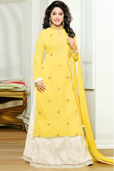 Designer Straight Cut:atisundar graceful Yellow Designer Embroidered Party Wear Straight Cut In Faux Georgette Featuring Heena Khan-Akashra - 11577 - atisundar - 3 - click to zoom
