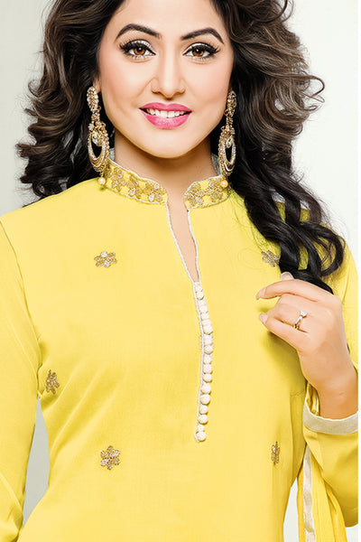 Designer Straight Cut:atisundar graceful Yellow Designer Embroidered Party Wear Straight Cut In Faux Georgette Featuring Heena Khan-Akashra - 11577 - atisundar - 4 - click to zoom