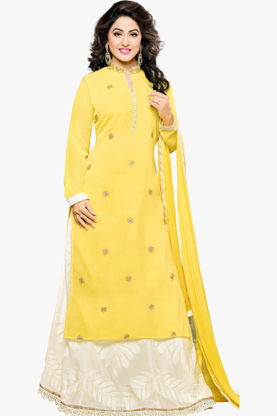 Designer Straight Cut:atisundar graceful Yellow Designer Embroidered Party Wear Straight Cut In Faux Georgette Featuring Heena Khan-Akashra - 11577 - atisundar - 1 - click to zoom
