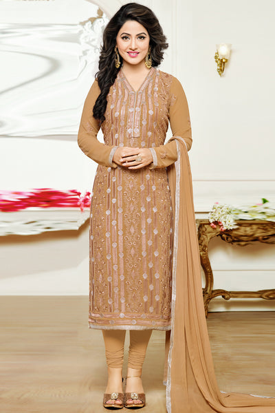 Designer Straight Cut:atisundar pretty Burly Wood Designer Embroidered Party Wear Straight Cut In Faux Georgette Featuring Heena Khan-Akashra - 11578 - atisundar - 3 - click to zoom