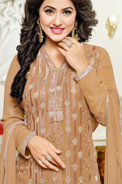 Designer Straight Cut:atisundar pretty Burly Wood Designer Embroidered Party Wear Straight Cut In Faux Georgette Featuring Heena Khan-Akashra - 11578 - atisundar - 4 - click to zoom