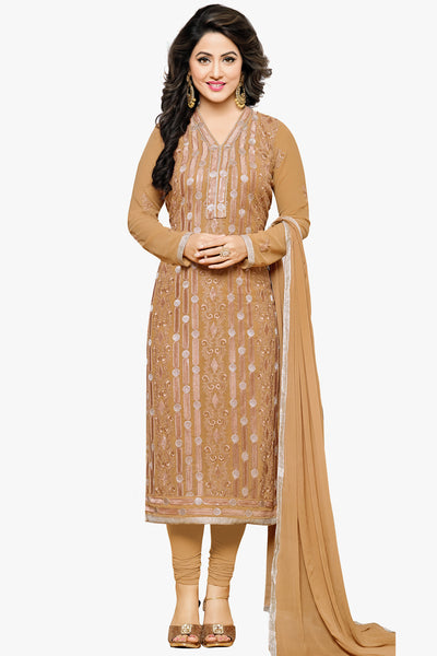 Designer Straight Cut:atisundar pretty Burly Wood Designer Embroidered Party Wear Straight Cut In Faux Georgette Featuring Heena Khan-Akashra - 11578 - atisundar - 1 - click to zoom
