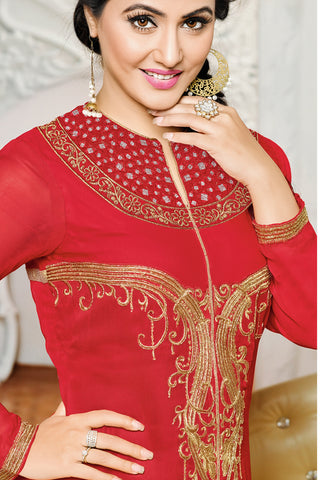 Designer Straight Cut:atisundar resplendent Red Designer Embroidered Party Wear Straight Cut In Faux Georgette Featuring Heena Khan-Akashra - 11579 - atisundar - 4