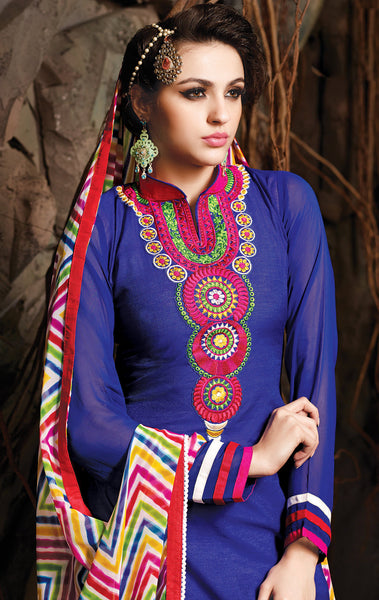 Embroidered Chanderi Cotton Suits:atisundar comely Blue Embroidered Straight Cut in Chanderi - 6611 - atisundar - 4 - click to zoom