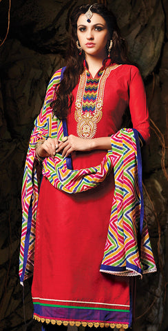 Embroidered Chanderi Cotton Suits:atisundar refined Red Embroidered Straight Cut in Chanderi - 6616 - atisundar - 4 - click to zoom