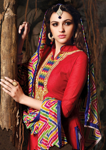 Embroidered Chanderi Cotton Suits:atisundar refined Red Embroidered Straight Cut in Chanderi - 6616 - atisundar - 5