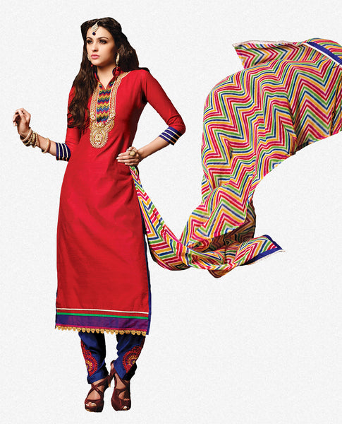 Embroidered Chanderi Cotton Suits:atisundar refined Red Embroidered Straight Cut in Chanderi - 6616 - click to zoom