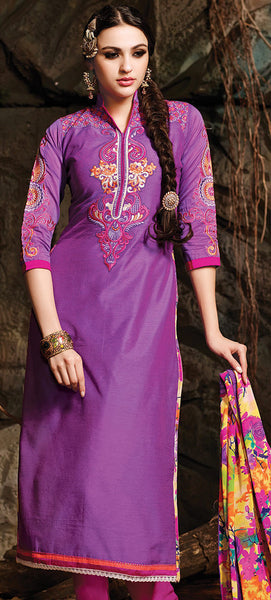 Embroidered Chanderi Cotton Suits:atisundar beauteous Purple Embroidered Straight Cut in Chanderi - 6621 - atisundar - 4 - click to zoom