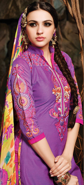 Embroidered Chanderi Cotton Suits:atisundar beauteous Purple Embroidered Straight Cut in Chanderi - 6621 - atisundar - 5 - click to zoom