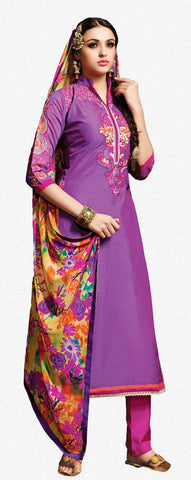 Embroidered Chanderi Cotton Suits:atisundar beauteous Purple Embroidered Straight Cut in Chanderi - 6621 - atisundar - 2 - click to zoom