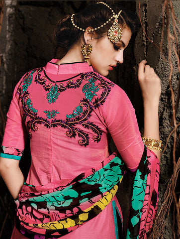 Embroidered Chanderi Cotton Suits:atisundar wonderful Pink Embroidered Straight Cut in Chanderi - 6622 - atisundar - 5