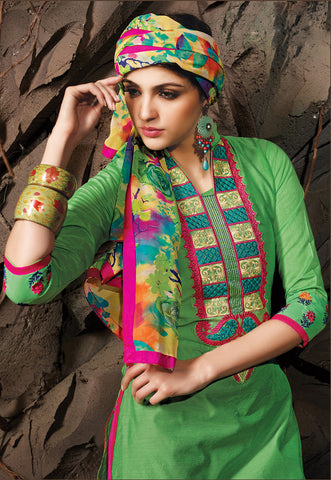 Embroidered Chanderi Cotton Suits:atisundar comely Green Embroidered Straight Cut in Chanderi - 6623 - atisundar - 4