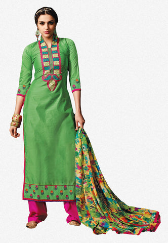 Embroidered Chanderi Cotton Suits:atisundar comely Green Embroidered Straight Cut in Chanderi - 6623 - atisundar - 2 - click to zoom