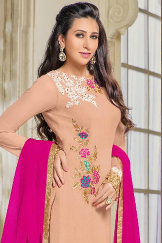 Designer Straight Cut:atisundar Charismatic Peach Designer Party Wear Straight Cut Featuring Karishma Kapoor - 14143