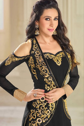 Designer Straight Cut:atisundar Smart Black Designer Party Wear Straight Cut Featuring Karishma Kapoor - 14144