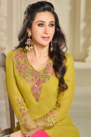 Designer Straight Cut:atisundar wonderful Green Designer Party Wear Straight Cut Featuring Karishma Kapoor - 14145