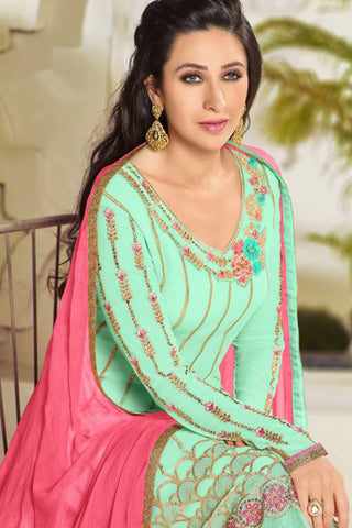 Designer Straight Cut:atisundar ravishing Green Designer Party Wear Straight Cut Featuring Karishma Kapoor - 14146