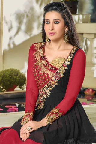 Designer Straight Cut:atisundar superb Red And Black Designer Party Wear Straight Cut Featuring Karishma Kapoor - 14147