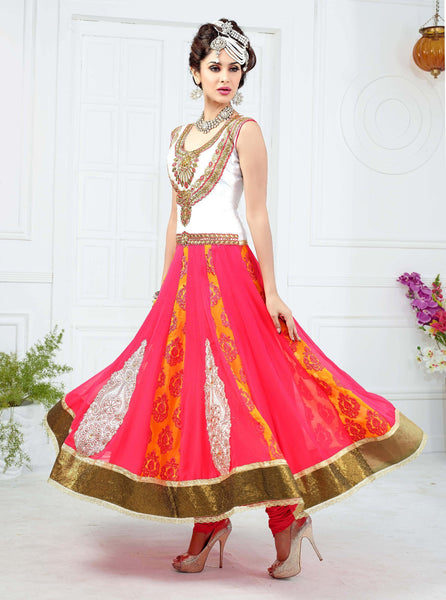 Designer Embroidered Suits:atisundar charming Pink And White Anarkali - 7881 - click to zoom