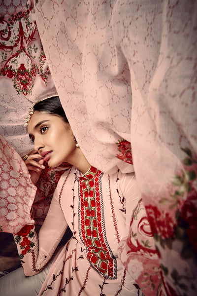 Designer Straight Cut:atisundar Lovely Light Pink And Red Designer Embroidered Party Wear Straight Cut In Faux Georgette - 11526 - atisundar - 2 - click to zoom