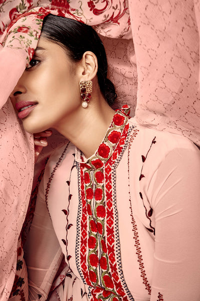 Designer Straight Cut:atisundar Lovely Light Pink And Red Designer Embroidered Party Wear Straight Cut In Faux Georgette - 11526 - atisundar - 3 - click to zoom