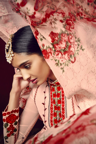 Designer Straight Cut:atisundar Lovely Light Pink And Red Designer Embroidered Party Wear Straight Cut In Faux Georgette - 11526 - atisundar - 5 - click to zoom