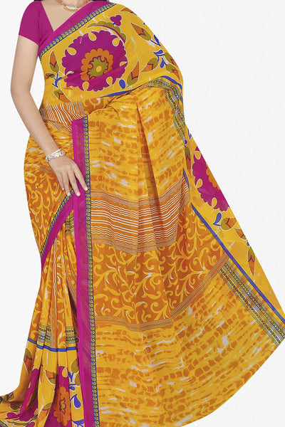 Designer Saree:atisundar excellent Designer Saree in Faux Georgette in Yellow  - 11659 - atisundar - 1 - click to zoom