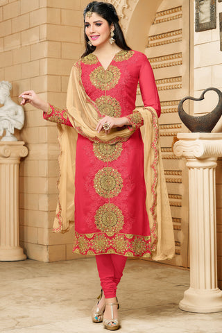 Designer Straight Cut:atisundar radiant Red Designer Embroidered Straight Cut - 12346 - atisundar - 5