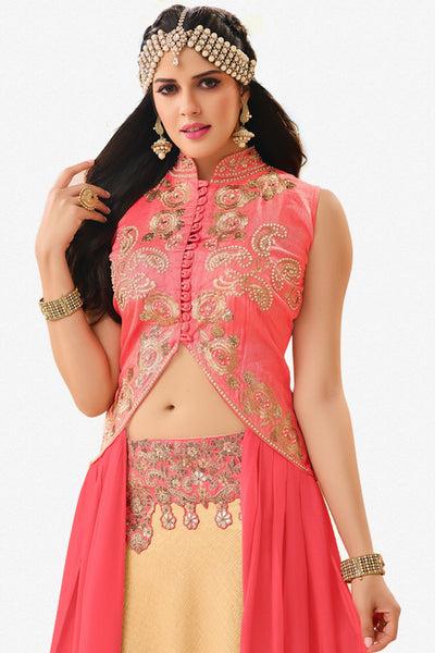 Designer Lehenga:atisundar Alluring Banglori Silk Designer Party Wear Lehenga in Pink And Cream - 12350 - atisundar - 3 - click to zoom