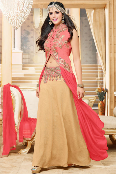 Designer Lehenga:atisundar Alluring Banglori Silk Designer Party Wear Lehenga in Pink And Cream - 12350 - atisundar - 4 - click to zoom