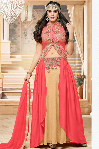 Designer Lehenga:atisundar Alluring Banglori Silk Designer Party Wear Lehenga in Pink And Cream - 12350 - atisundar - 5 - click to zoom