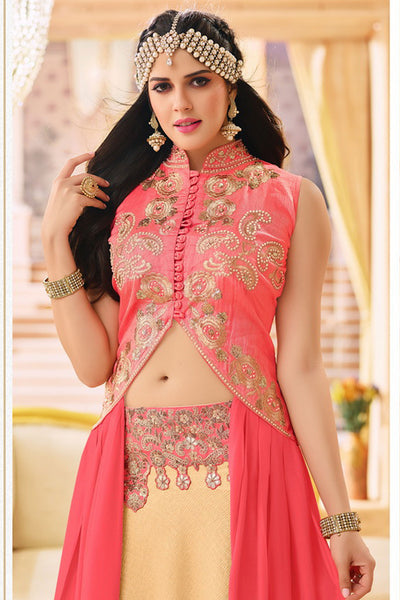 Designer Lehenga:atisundar Alluring Banglori Silk Designer Party Wear Lehenga in Pink And Cream - 12350 - atisundar - 6 - click to zoom