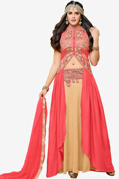 Designer Lehenga:atisundar Alluring Banglori Silk Designer Party Wear Lehenga in Pink And Cream - 12350 - atisundar - 1 - click to zoom