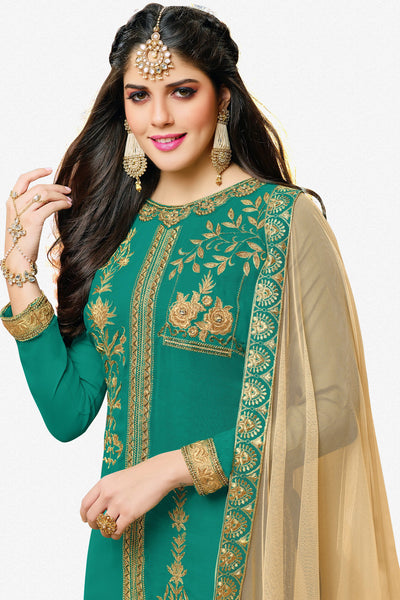 Designer Straight Cut:atisundar resplendent Sea Green Designer Embroidered Straight Cut - 12347 - atisundar - 2 - click to zoom