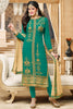 Designer Straight Cut:atisundar resplendent Sea Green Designer Embroidered Straight Cut - 12347 - atisundar - 3 - click to zoom