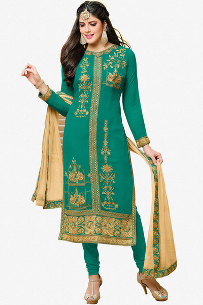 Designer Straight Cut:atisundar resplendent Sea Green Designer Embroidered Straight Cut - 12347 - atisundar - 1 - click to zoom