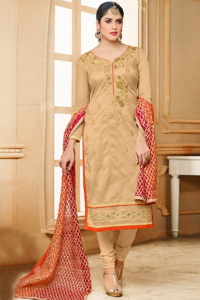 Designer Straight Cut:atisundar gorgeous Cream Designer Embroidered Straight Cut - 12348 - atisundar - 4 - click to zoom