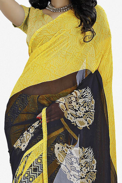 Designer Saree:atisundar radiant Designer Saree in Faux Georgette in Yellow  - 11661 - atisundar - 2 - click to zoom