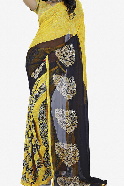 Designer Saree:atisundar radiant Designer Saree in Faux Georgette in Yellow  - 11661 - atisundar - 1 - click to zoom