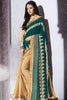 Designer Saree:atisundar Great Party wear Sarees with designer blouses and embroidered border in Dark Green And Cream  - 10758 - atisundar - 3 - click to zoom