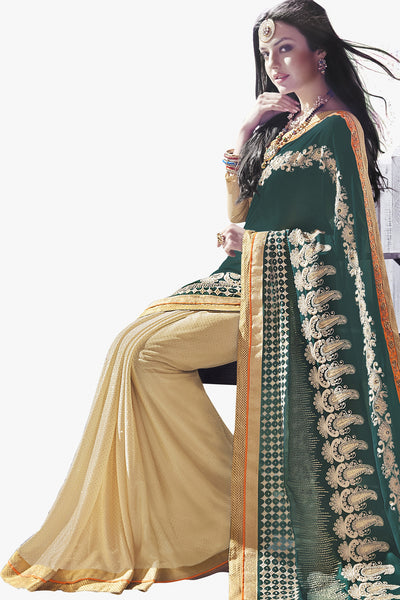 Designer Saree:atisundar Great Party wear Sarees with designer blouses and embroidered border in Dark Green And Cream  - 10758 - atisundar - 2 - click to zoom