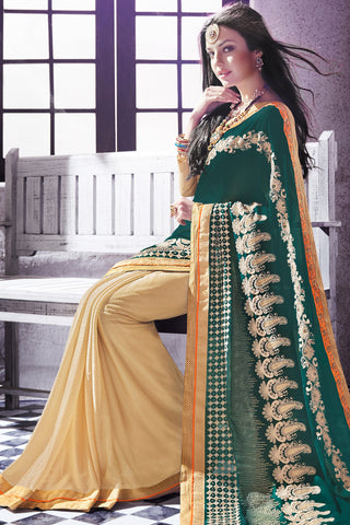 Designer Saree:atisundar Great Party wear Sarees with designer blouses and embroidered border in Dark Green And Cream  - 10758 - atisundar - 4