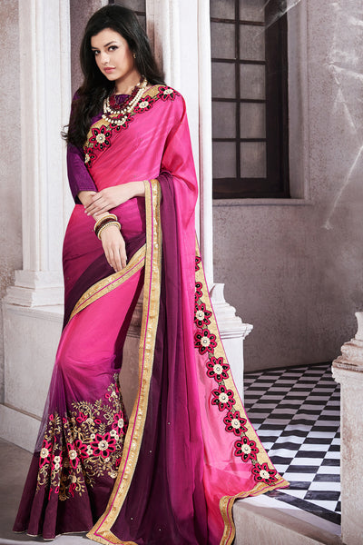 Designer Saree:atisundar Superb Party wear Sarees with designer blouses and embroidered border in Pink And Purple  - 10759 - atisundar - 3 - click to zoom