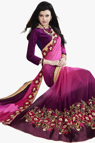 Designer Saree:atisundar Superb Party wear Sarees with designer blouses and embroidered border in Pink And Purple  - 10759 - atisundar - 2 - click to zoom