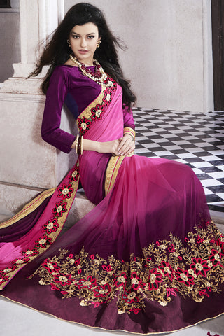 Designer Saree:atisundar Superb Party wear Sarees with designer blouses and embroidered border in Pink And Purple  - 10759 - atisundar - 4
