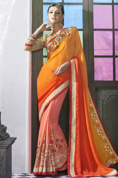 Designer Saree:atisundar gorgeous Party wear Sarees with designer blouses and embroidered border in Orange And Peach  - 10760 - atisundar - 3 - click to zoom