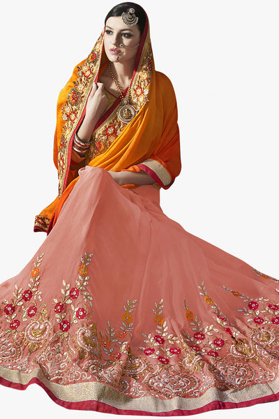 Designer Saree:atisundar gorgeous Party wear Sarees with designer blouses and embroidered border in Orange And Peach  - 10760 - click to zoom
