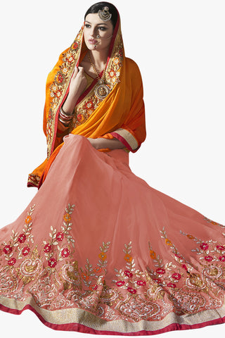 Designer Saree:atisundar gorgeous Party wear Sarees with designer blouses and embroidered border in Orange And Peach  - 10760 - atisundar - 2 - click to zoom
