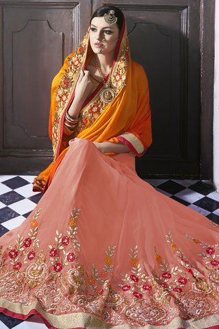Designer Saree:atisundar gorgeous Party wear Sarees with designer blouses and embroidered border in Orange And Peach  - 10760 - atisundar - 4 - click to zoom
